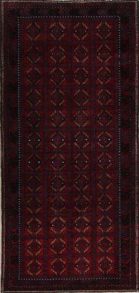 Red Geometric Balouch Bokhara Persian Runner Rug 4x8