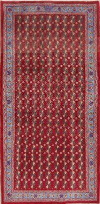 Red Geometric Ardebil Persian Runner Rug 4x8