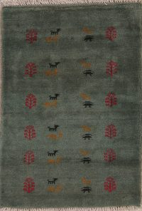 Green Tribal Gabbeh Shiraz Persian Wool Rug 3x4