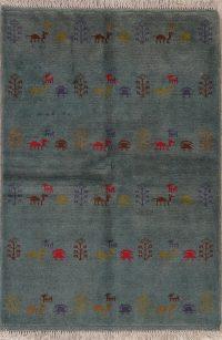 Green Tribal Gabbeh Shiraz Persian Wool Rug 3x5
