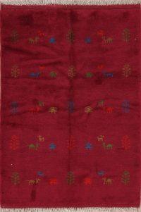 Red Tribal Gabbeh Shiraz Persian Wool Rug 4x5
