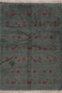 Green Tribal Gabbeh Shiraz Persian Wool Rug 4x5