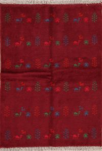 Red Tribal Gabbeh Shiraz Persian Wool Rug 3x5