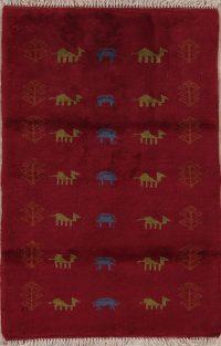 Red Tribal Gabbeh Persian Wool Rug 3x4
