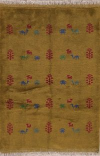 Gold Rust Tribal Gabbeh Shiraz Persian Wool Rug 4x5