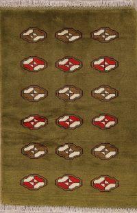 Green Geometric Gabbeh Shiraz Persian Wool Rug 3x5