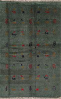 Green Tribal Gabbeh Shiraz Persian Area Rug 4x7