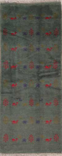 Green Tribal Gabbeh Shiraz Persian Runner Rug 3x7