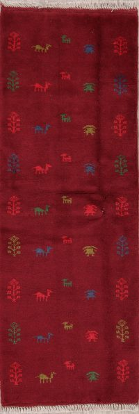 Red Tribal Gabbeh Shiraz Persian Runner Rug 2x6