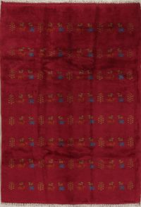 Red Tribal Gabbeh Shiraz Persian Area Rug 6x8