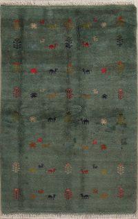 Green Tribal Gabbeh Shiraz Persian Area Rug 4x6
