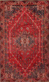 Red Antique Geometric Qashqai Persian Area Rug 5x8