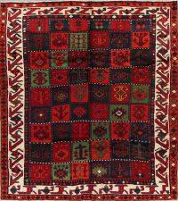Red Tribal Geometric Qashqai Persian Square Rug 7x8