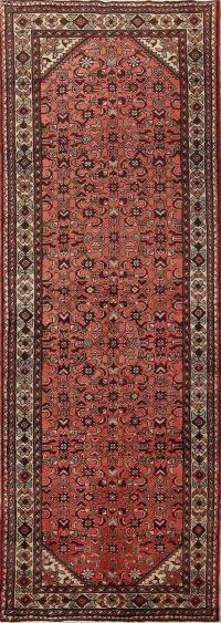Red Geometric Hamedan Persian Runner Rug 4x10