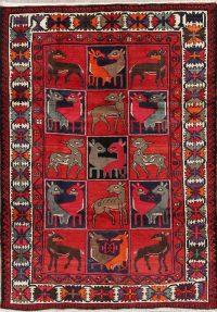 Red Animal Pictorial Geometric Kashkoli Persian Area Rug 7x9