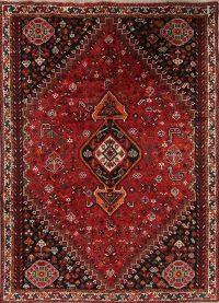 Red Tribal Geometric Qashqai Persian Area Rug 7x10