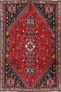 Red Geometric Abadeh Persian Area Rug 6x10