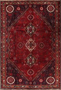 Red Geometric Abadeh Persian Area Rug 7x11