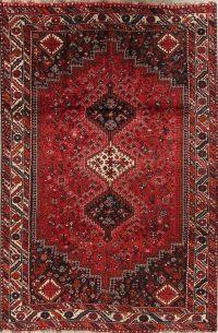 Red Geometric Qashqai Persian Area Rug 7x10