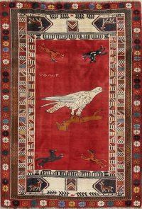 Red Animal Pictorial Kashkoli Persian Area Rug 5x7