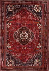Red Geometric Abadeh Persian Area Rug 7x10