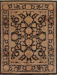 Black Floral Agra Indian Oriental Area Rug 8x10