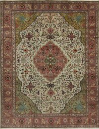 Green Floral Tabriz Persian Area Rug 7x10