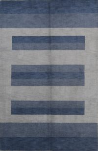 Striped Design Blue 7x10 Gabbeh Indian Oriental Area Rug