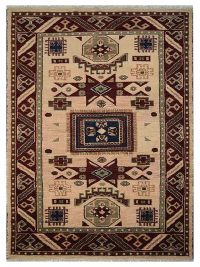 Hand Knotted Afghan Wool And Silk Oriental Area Rug Kazak Cream Burgundy