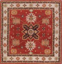 Hand-Tufted Rust Square 12x12 Kazak Oriental Area Rug