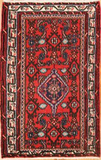 Red Geometric Hamedan Persian Wool Rug 2x4