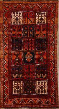 Tribal Geometric Rust Shiraz Persian Hand-Knotted Area Rug Wool 5x9