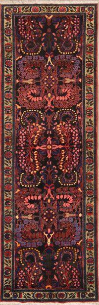 Black Floral Lilian Hamedan Persian Runner Rug 4x11
