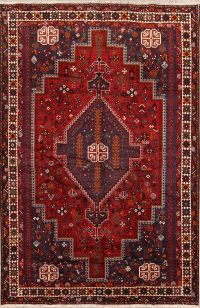 Hand-Knotted Tribal Geometric Shiraz Persian Area Wool Rug 7x10