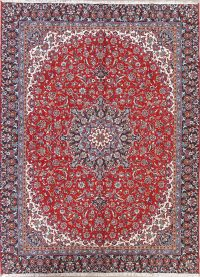 Red Traditional Floral Kashan Persian Area Rug 9x12