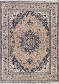 Brown Floral Kashan Persian Area Rug 10x13
