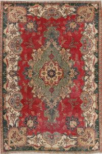 Floral Red Tabriz Persian Hand-Knotted Area Rug Wool 7x11