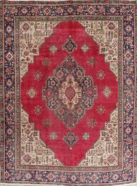 Geometric Red Tabriz Persian Hand-Knotted Area Rug Wool 10x13