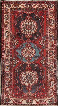 Geometric Red Bakhtiari Persian Hand-Knotted Area Rug Wool 5x10