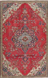 Floral Red Tabriz Persian Hand-Knotted Area Rug Wool 5x8