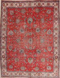 Floral Red Tabriz Persian Hand-Knotted Area Rug Wool 10x13