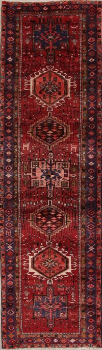 Red Tribal Geometric Heriz Persian Runner Rug 3x11