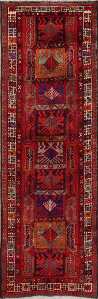 Hand-Knotted Red Geometric Hamedan Persian Rug Wool 3x5