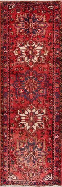 Red Geometric Heriz Persian Runner Rug 4x11
