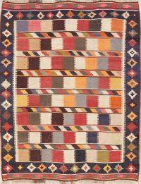 Hand-Woven Geometric Kilim Shiraz Persian Area Rug 5x7