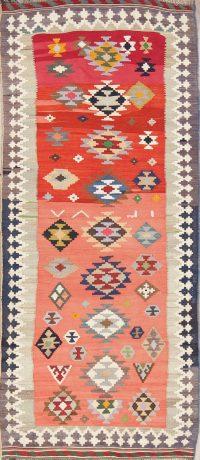 Hand-Woven Geometric Kilim Shiraz Persian Runner Rug 4x9
