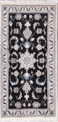 Black Floral Nain Persian Runner Rug 2x5