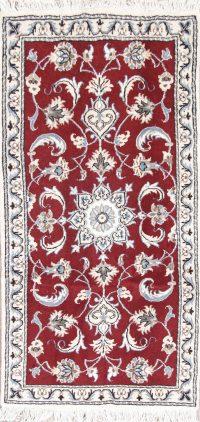 Red Floral Nain Persian Runner Rug 2x5