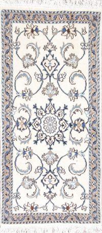 Ivory Floral Nain Persian Runner Rug 2x5