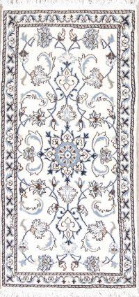 White Floral Nain Persian Runner Rug 2x5